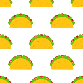 Mexican festival taco fastfood seamless pattern