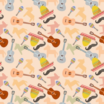 Mexican festival with musical instrument seamless pattern.