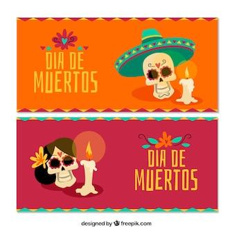 頭蓋骨とろうそくのメキシコのお祝いのバナー