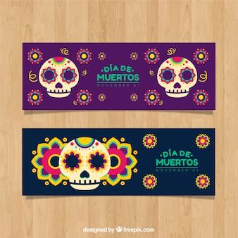 頭蓋骨を持つメキシカの祭典のバナー