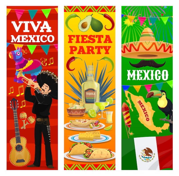 Mexican fiesta banners, mexico flag, map and food