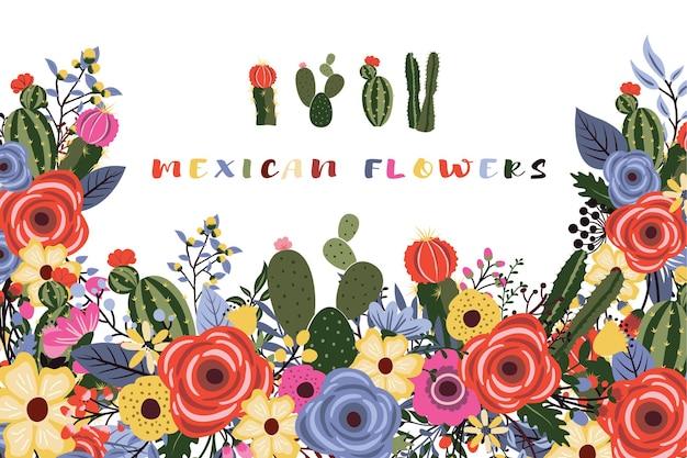 Цветы мексиканской фиесты с дизайном кактуса