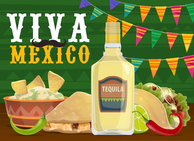 Mexican fiesta party food and drink, viva mexico design