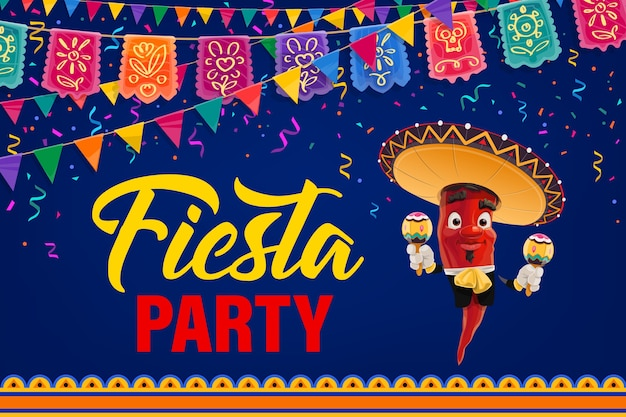 Mexican fiesta party  poster. cartoon pepper mariachi character mexico musician in sombrero and national costume playing maracas. cinco de mayo event invitation with flag garlands and fireworks
