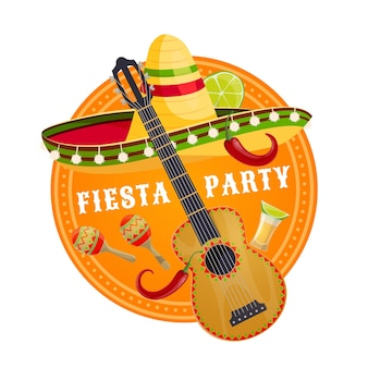 Mexican fiesta party sombrero and guitar