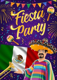 Mexican fiesta party of viva mexico design. mexican flag, maracas and sombrero hat, mariachi musician, trumpet, festive bunting and fireworks, cinco de mayo carnival greeting card