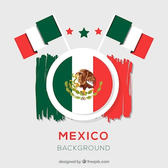Mexican flag background in paint style