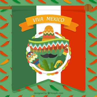 Mexican flag background with cactus