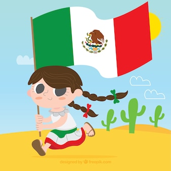 Mexican flag background with girl