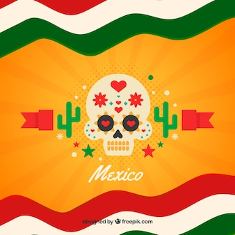 Mexican flag background with skull