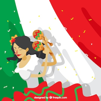 Mexican flag background with woman