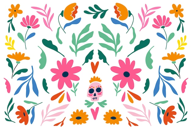Mexican floral background flat design