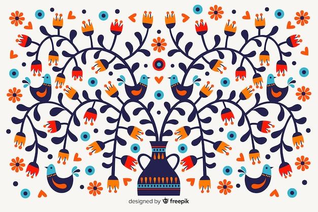 멕시코 꽃 자 수 배경