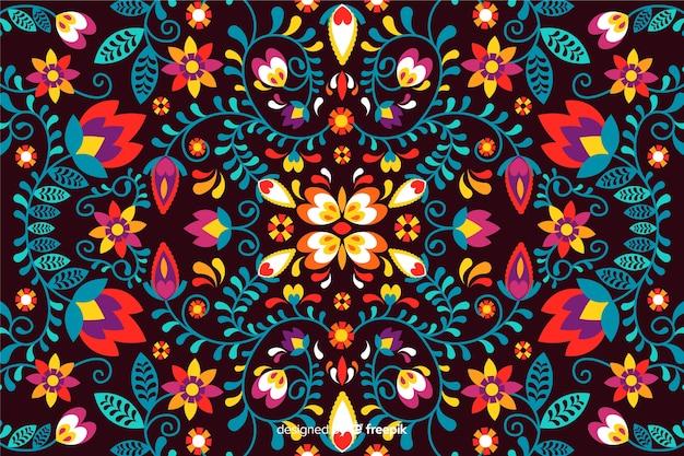 メキシコの花の刺繍の背景