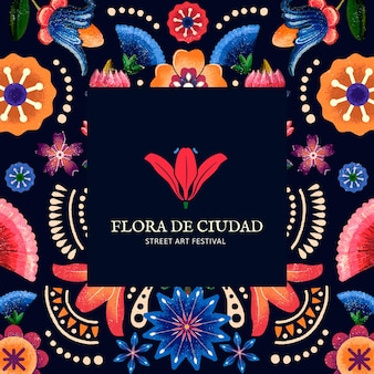 Mexican floral pattern template for branding logo