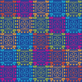 Mexican flowers pattern background design.