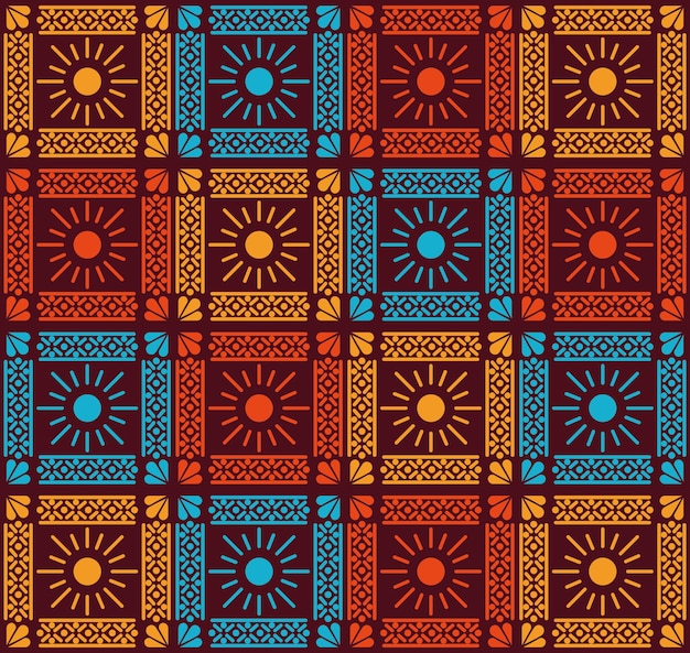Mexican flowers and sun pattern background design.