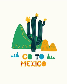 Mexican folk art national holiday folk style mexico cactus hand drawn go to mexico postcard