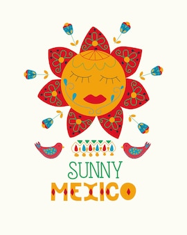 Mexican folk art national holiday folk style sunny mexico hand drawn lettering postcard concept