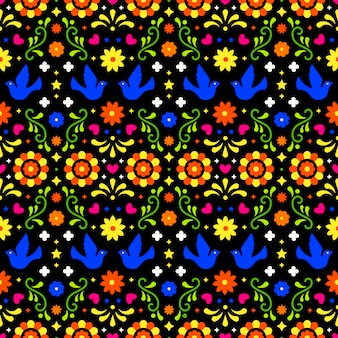 Mexican folk art seamless pattern with flowers, leaves and bird
