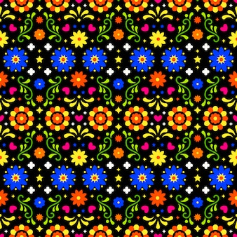 Mexican folk art seamless pattern with flowers