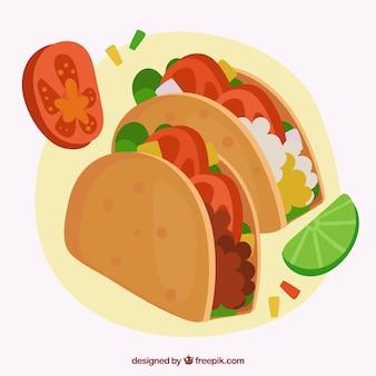 Мексиканский фон питания с двумя тако