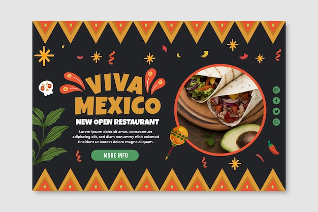 Mexican food banner template with photo