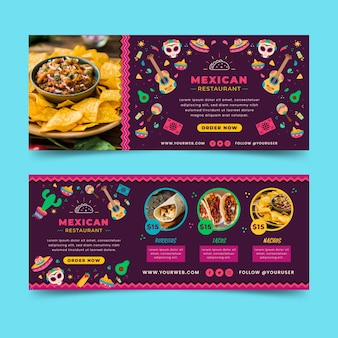 Mexican food banners template with photo