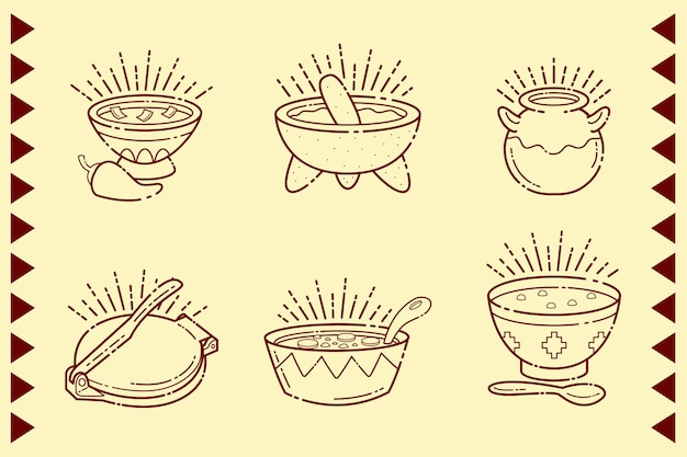 Mexican food in bowls isolated