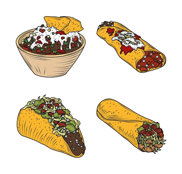 Mexican food burrito taco enchilada traditional vintage engraved color