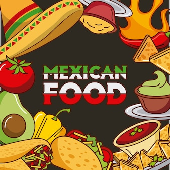 Mexican food card differents ingredients menu