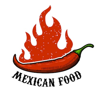 Mexican food. chili pepper with fire  on white background.  illustration