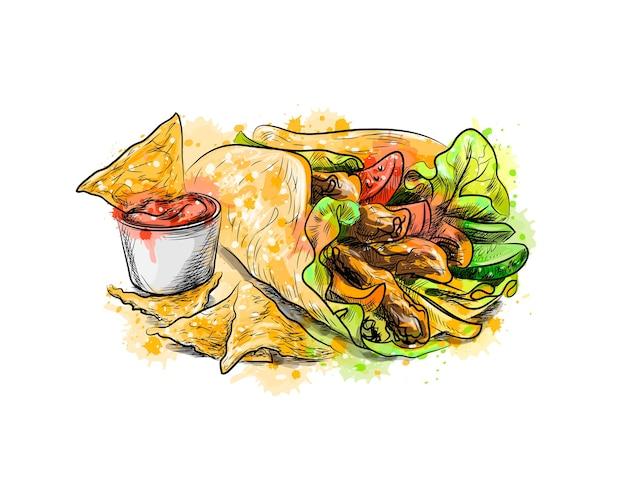 メキシコ料理。トルティーヤ、ナチョス、水彩のスプラッシュからのソースのチップ、手描きのスケッチ。塗料のイラスト