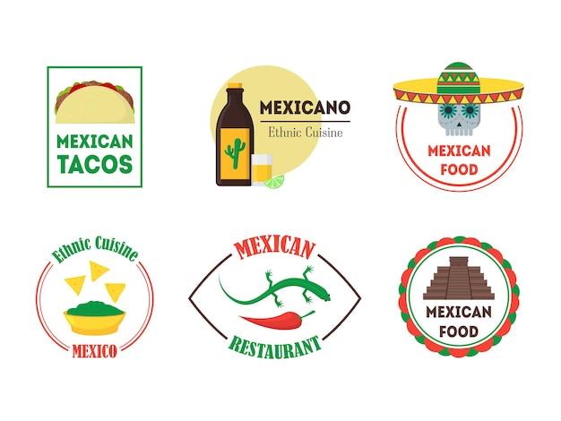 バー、レストラン、パブに設定されたメキシコ料理のバッジまたはラベル。フラットなデザインスタイル。 。ベクトルイラスト