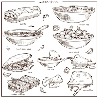 Mexican food cuisine traditional dishes vector sketch icons for restaurant menu