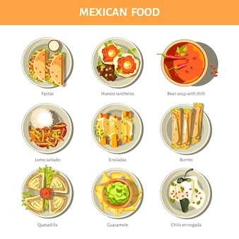 Mexican food cuisine vector icons for restaurant menu