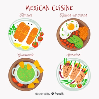 Mexican food dishes set