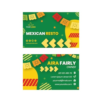 Mexican food double-sided horizontal business card template