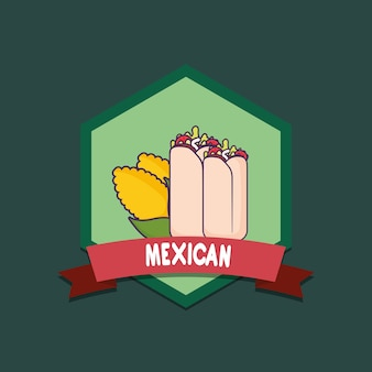 Mexican food emblem with burritas and corns over green background, colorful design. vector illustrat