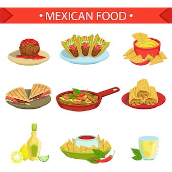 Mexican food famous dishes illustration set