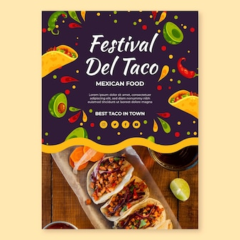 Mexican food festival poster template