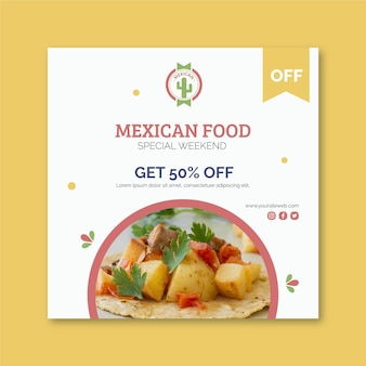 Mexican food flyer square