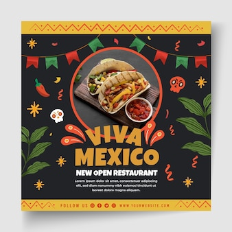 Mexican food flyer template with photo