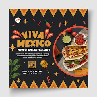Modello di volantino di cibo messicano con foto