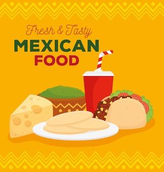 Плакат о свежей и вкусной мексиканской кухне с тако и вкусными ингредиентами