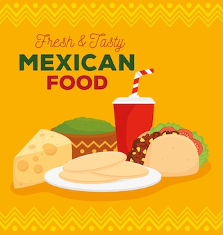 Mexican food fresh and tasty poster with taco and delicious ingredients