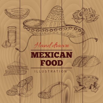 Mexican food hand drawn illustration