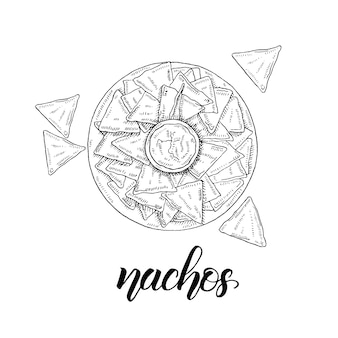Mexican food. hand drawn nachos in sketch style isolated on white. hand made lettering.