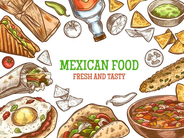 멕시코 음식. 손으로 그린 전통 멕시코 데킬라와 요리, 부리토, 타코, 나초, 엔칠라다 빈티지 스케치 벡터 배경. 카페 또는 레스토랑 메뉴를 위한 맵고 뜨거운 요리