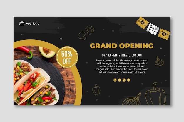 Mexican food horizontal anner template